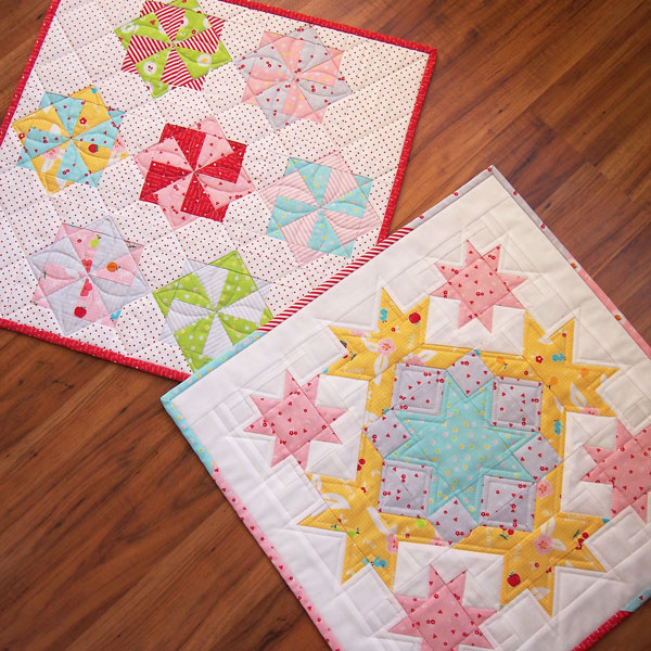 Two mini quilts I made for Sedef to display at Market.