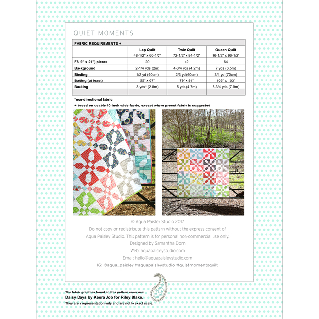 Quiet Moments PDF Quilt Pattern by Aqua Paisley Studio