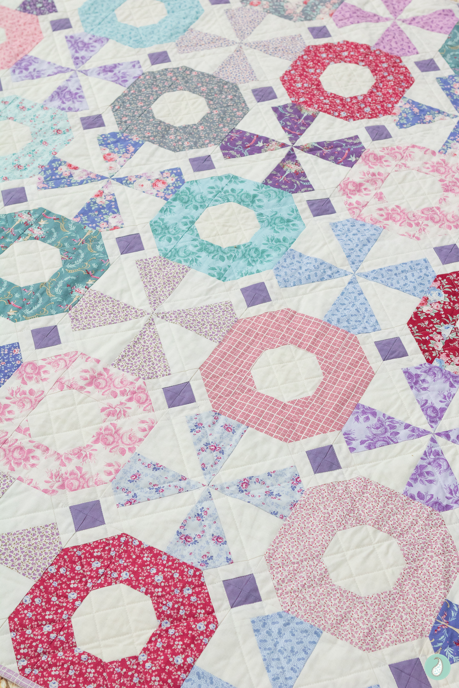 Rose Dream Quilt Block.Tilda Old Rose Fabric Showcase South Bank Spin Quilt