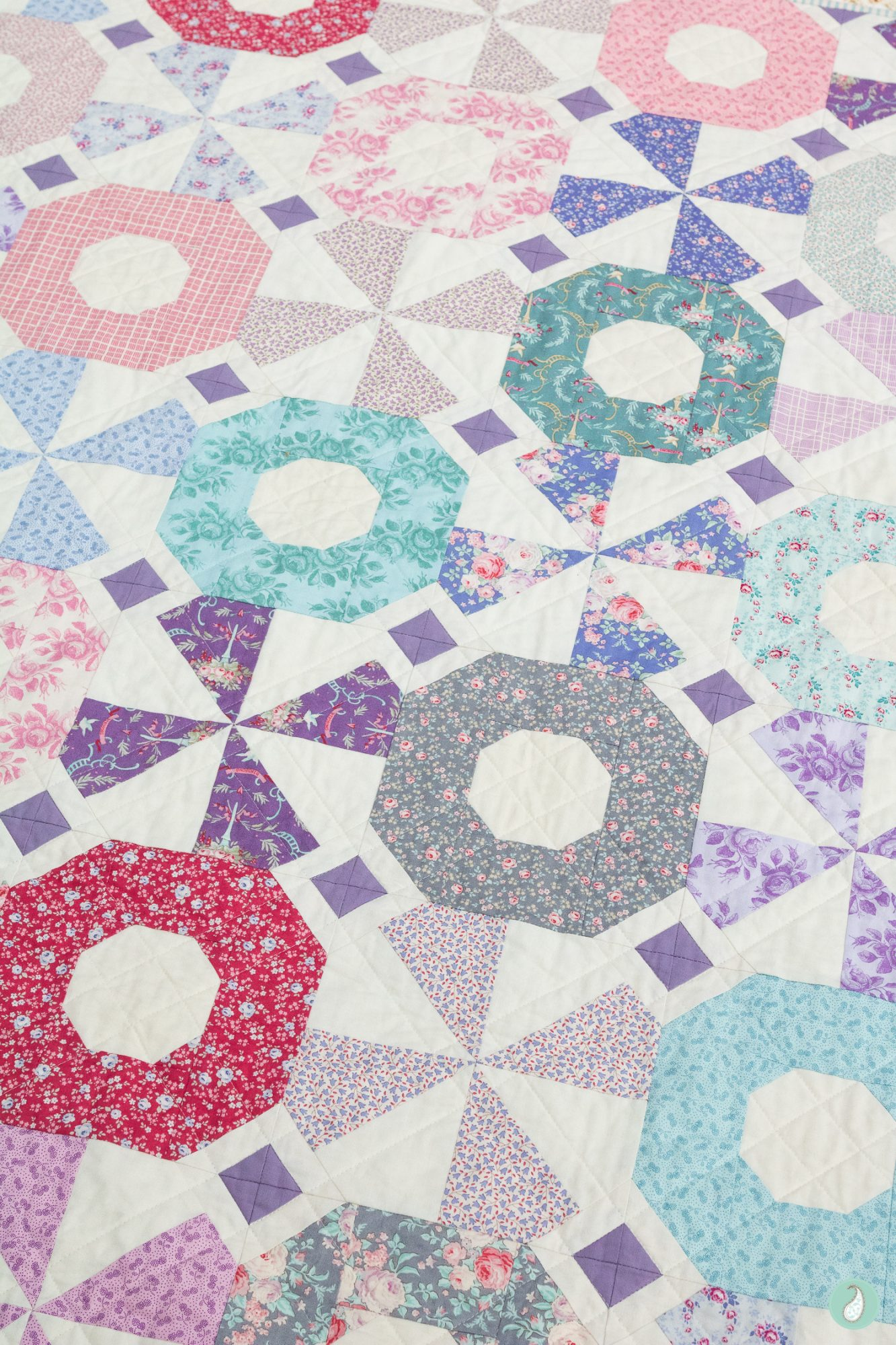 Tilda Old Rose Fabric | South Bank Spin Quilt | Aqua Paisley Studio